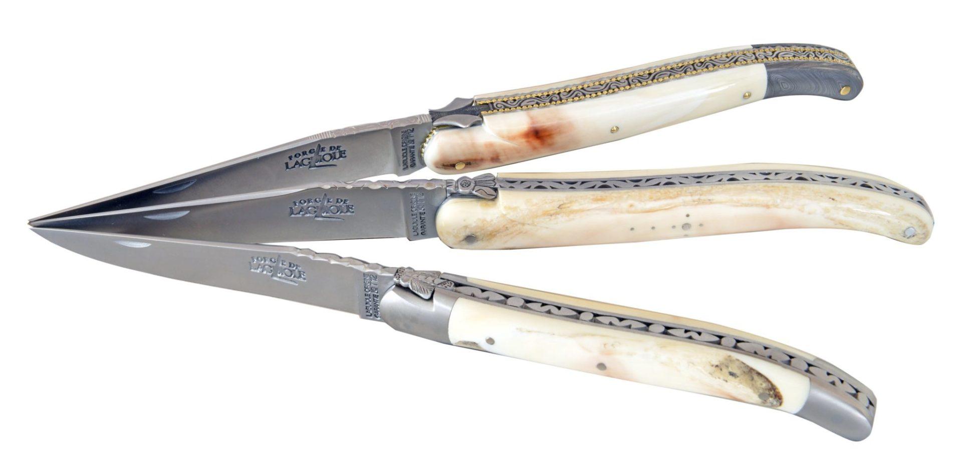 couteaux laguioles au manche dent de phacochère