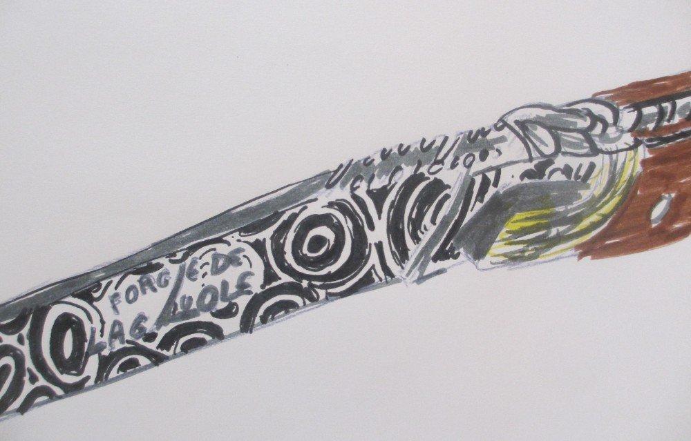 dessin couteau de poche laguiole