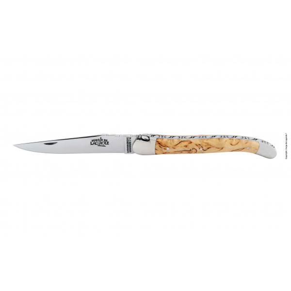 1212F INBOBRI laguiole hand chiselled folding knife birch wood 12 cm - Taschenmesser ziseliert Biene Griff aus Birkenholz