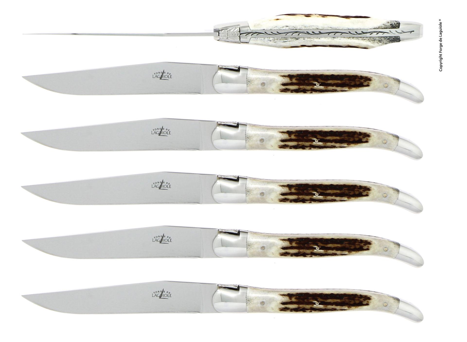 Table knives, high polished finish with Deer antler handle, set of 10