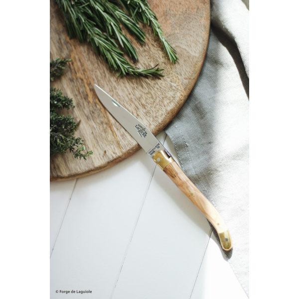 1211 OL 1 - Couteau pliant laiton 11 cm brillant manche olivier