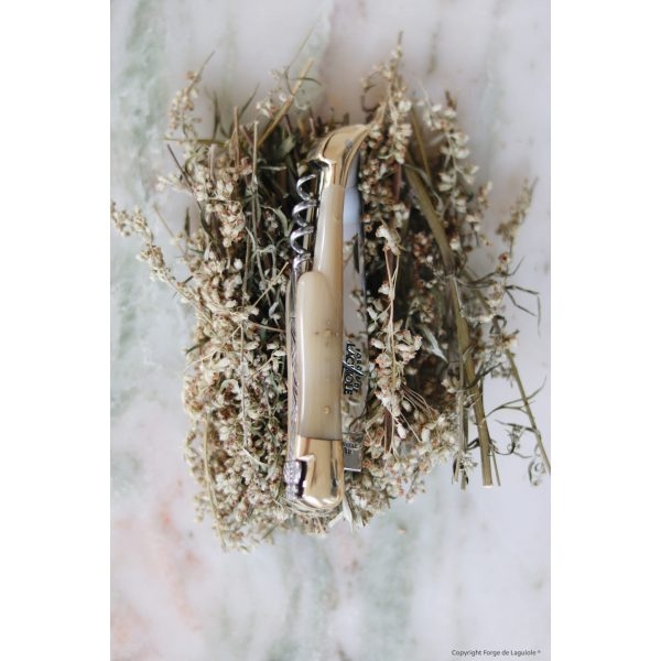 22121 B - Taschenmesser, 12 cm mit Korkenzieher, hochglanz poliert mit Griff aus hellem Horn und Mitres aus Messing