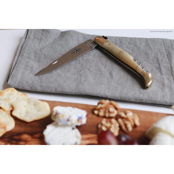 22121 BC 1 - Taschenmesser, 12 cm mit Korkenzieher, hochglanz poliert mit Griff aus hellem Horn und Mitres aus Messing