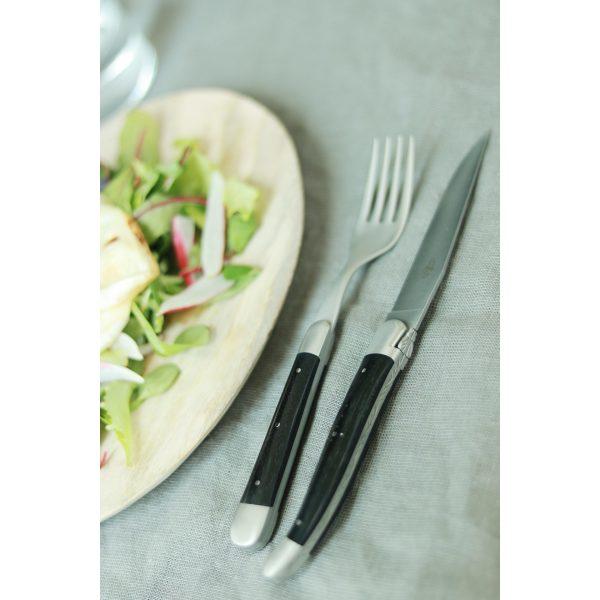 TF 2M INEB SAT - Couteaux de table satinés en ébène, coffret de 6