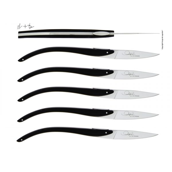 T6 ASP EB 2 - Table knives C + B Lefebvre with ebony handle for Anne-Sophie Pic, set of 6