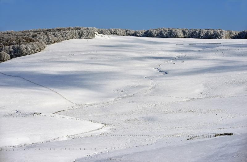 photo de l'aubrac sous la neige